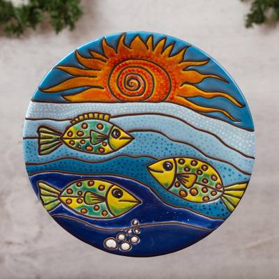 Ceramic wall art, 'Fish Under the Sun' - Fish-Themed Ceramic Wall Art Crafted in Mexico