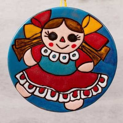 Ceramic wall art, 'Delightful Maria Doll' - Ceramic Wall Art of a Maria Doll in a Red Dress from Mexico