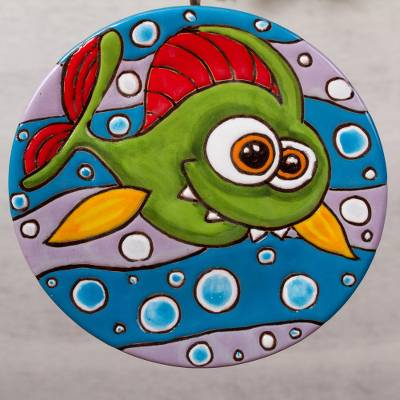 Ceramic wall art, 'Goofy Fish' - Goofy Fish Ceramic Wall Art from Mexico