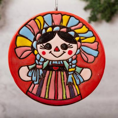 Ceramic wall art, 'Lovely Maria Doll' - Maria Doll-Themed Ceramic Wall Art Crafted in Mexico