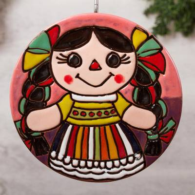 Ceramic wall art, 'Happy Doll' - Doll-Themed Ceramic Wall Art from Mexico