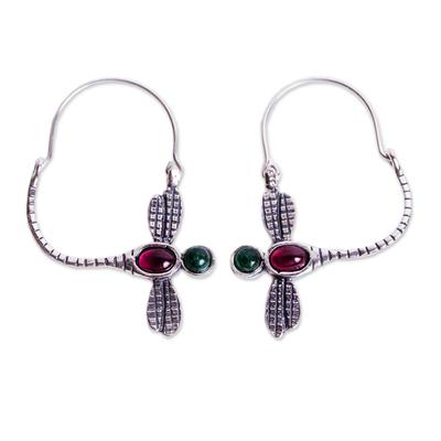 Garnet and Agate Dragonfly Hoop Earrings