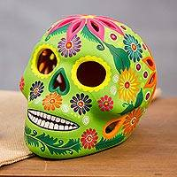 Ceramic lantern, 'Bright Skull' - Hand-Painted Floral Ceramic Skull Lantern from Mexico