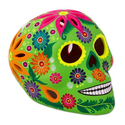 Ceramic lantern, 'Bright Skull' - Hand-Painted Floral Ceramic Skull Lantern from Mexico