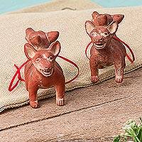 Ceramic ornaments, 'Double Dogs' (pair)
