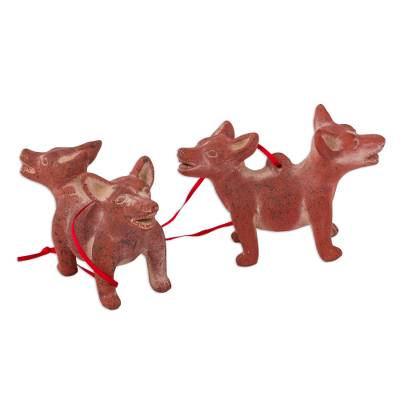 Ceramic ornaments, 'Double Dogs' (pair) - Dog-Themed Ceramic Ornaments from Mexico (Pair)