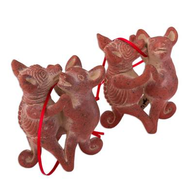 Ceramic Dancing Dog Ornaments from Mexico (Pair)