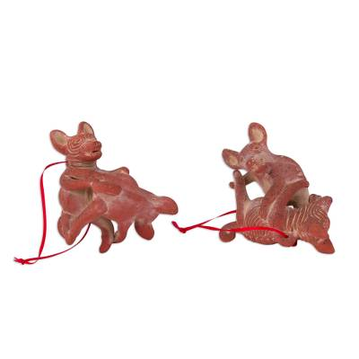 Ceramic Playful Dog Ornaments from Mexico (Pair)
