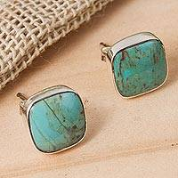 Reconstituted turquoise stud earrings, 'Square Bucklers' - Square Reconstituted Turquoise Stud Earrings from Mexico