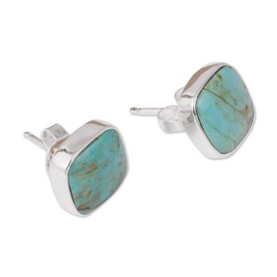 Square Reconstituted Turquoise Stud Earrings from Mexico