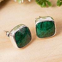 Chrysocolla stud earrings, 'Square Bucklers'