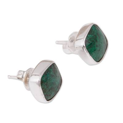Square Chrysocolla Stud Earrings from Mexico