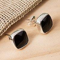 Obsidian stud earrings, 'Square Bucklers' - Square Obsidian Stud Earrings from Mexico