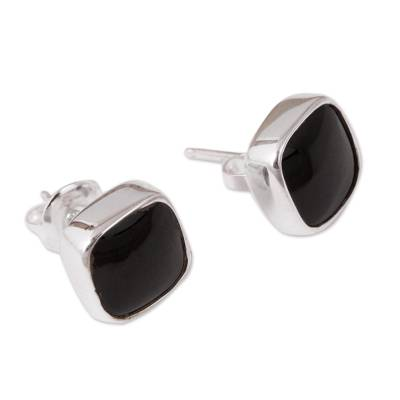 Square Obsidian Stud Earrings from Mexico