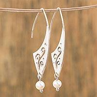 Cultured pearl dangle earrings, 'Swirling Magnificence' - Swirl Pattern Cultured Pearl Dangle Earrings from Mexico