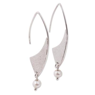 Modern Cultured Pearl Dangle Earrings from Mexico