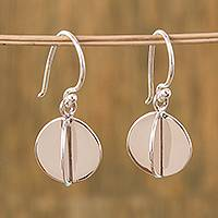 Silver dangle earrings, 'Intersected Discs' - Modern Circular Silver Dangle Earrings from Mexico