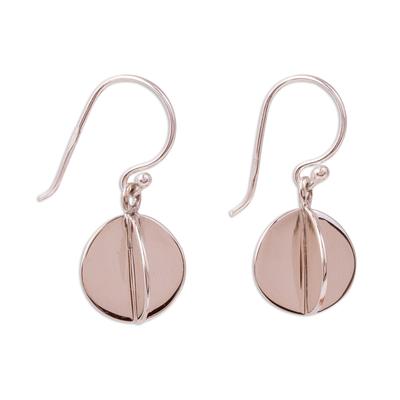 Silver dangle earrings, 'Intersected Discs' - Modern Circular Silver Dangle Earrings from Mexico