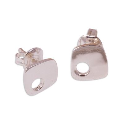 Sterling silver stud earrings, 'Abstract Idea' - Modern Sterling Silver Stud Earrings from Mexico