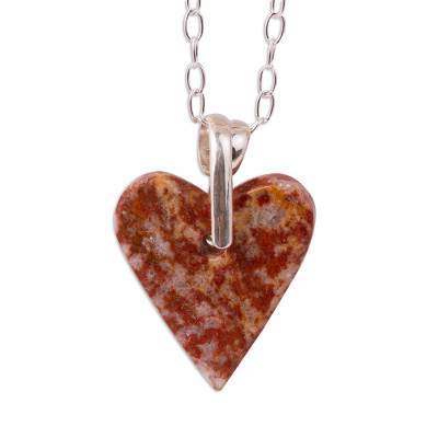 Marble pendant necklace, 'Love for the Earth' - Heart-Shaped Marble Pendant Necklace from Mexico