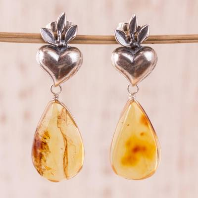 Amber dangle earrings, Ancient Holy Hearts