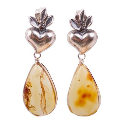 Amber Flaming Heart Dangle Earrings from Mexico