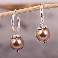 Swarovski crystal dangle earrings, 'Pearly Light' - Faux Pearl Swarovski Crystal Dangle Earrings from Mexico