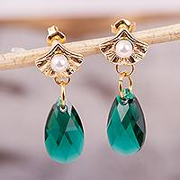 Gold accented Swarovski crystal dangle earrings, 'Ginkgo Destiny' - Gold Accented Leaf-Themed Swarovsky Crystal Earrings