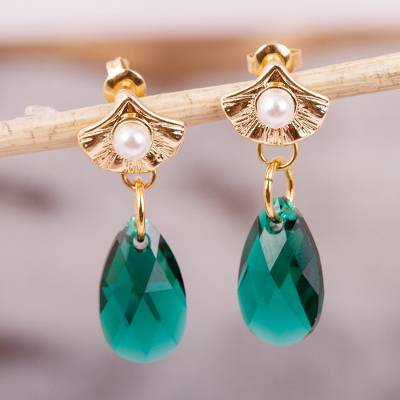 Gold accented Swarovski crystal dangle earrings, Ginkgo Destiny