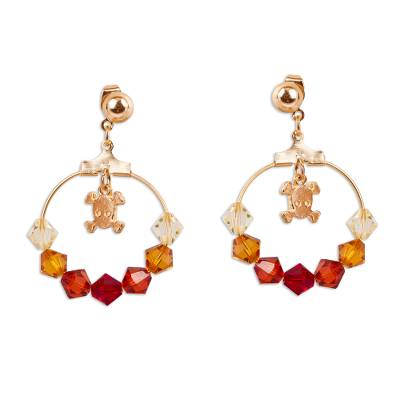 Gold Plated Swarovski Crystal Beaded Dangle Earrings