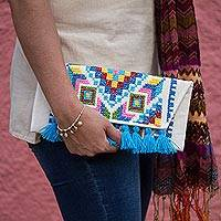 Cotton blend clutch, 'Dramatic Geometric' - Colorful Cross-Stitched Geometric Motif Cotton Blend Clutch