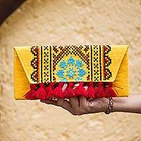 Cotton blend clutch, 'Sunlit Trellis' - Colorful Cross-Stitched Goldenrod Cotton Blend Clutch