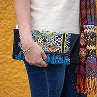Cotton blend clutch, 'Kaleidoscope Window' - Multi-Color on Black Cross-Stitched Cotton Blend Clutch
