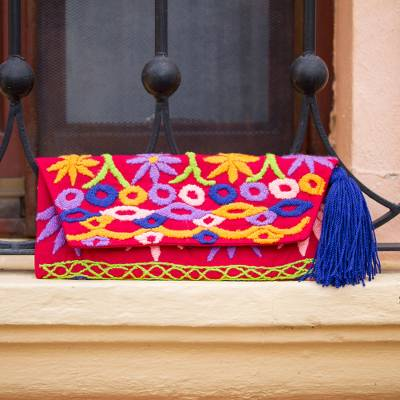 Cotton blend clutch, 'Jubilant Garden' - Crimson Cotton Blend Clutch with Colorful Embroidery