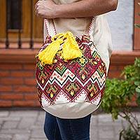 Cotton blend bucket bag, 'Harvest Kaleidoscope' - Multi-Color Cross-Stitch Geometric Cotton Blend Shoulder Bag