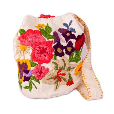 Colorful Embroidery on Off-White Cotton Blend Shoulder Bag
