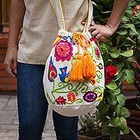 Cotton blend bucket bag, 'Songbird Garden' - Colorful Floral Motif Embroidery Cotton Blend Shoulder Bag