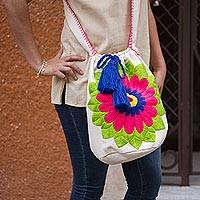 Cotton blend bucket bag, 'Grand Gerbera' - Red and Blue Embroidered Daisy Cotton Blend Shoulder Bag