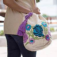 Cotton blend bucket bag, 'Lilac Lovelies' - Purple and Blue Embroidered Garden Cotton Blend Shoulder Bag