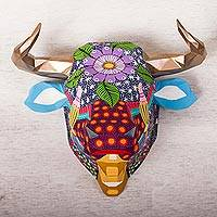 Resin wall sculpture, 'Eco Bull' - Eco-Friendly Resin Bull Wall Sculpture from Mexico