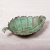 Copper centerpiece, 'Antiqued Leaf' - Antiqued Green Copper Leaf Centerpiece from Mexico
