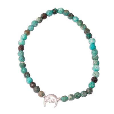 Crescent Moon Reconstituted Turquoise Beaded Bracelet