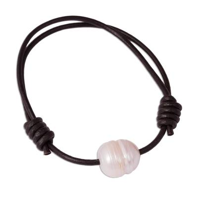 Cultured Pearl and Leather Pendant Bracelet from Mexico