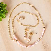 Gold plated opal jewelry set, 'Pink Light' - Gold Plated Opal and Crystal Jewelry Set from Mexico