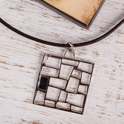 Sterling silver and wood pendant necklace, 'Modern Lattice' - Modern Sterling Silver and Wood Pendant Necklace from Mexico