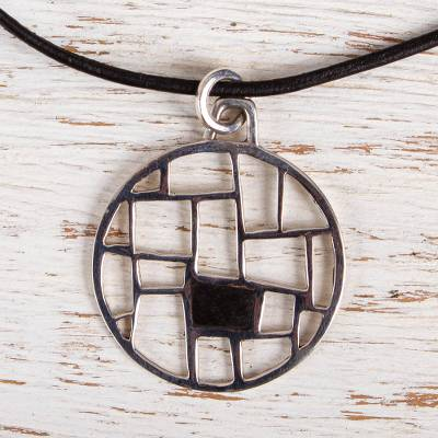 Sterling silver and wood pendant necklace, 'Modern Web' - Modern Sterling Silver and Wood Pendant Necklace from Mexico