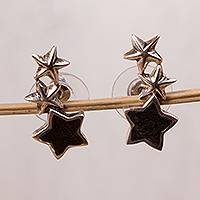 Sterling silver and wood drop earrings, 'Fascinating Constellation' - Sterling Silver and Wood Star Drop Earrings from Mexico