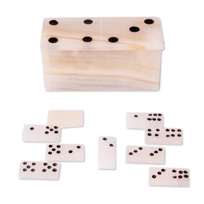 Onyx domino set, 'Earth's Game' - Natural Onyx Domino Set from Mexico