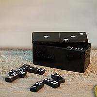 Marble domino set, 'Strategic Chance' - Black Marble Domino Set from Mexico
