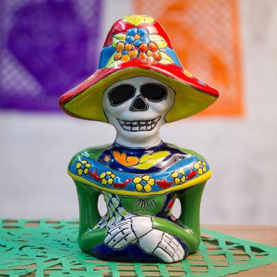 Ceramic sculpture, 'Camellia Woman' - Hand-Painted Ceramic Catrina Sculpture from Mexico